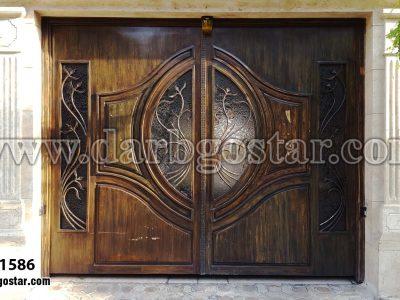 درب فلزی طرح چوب کد درب 1586