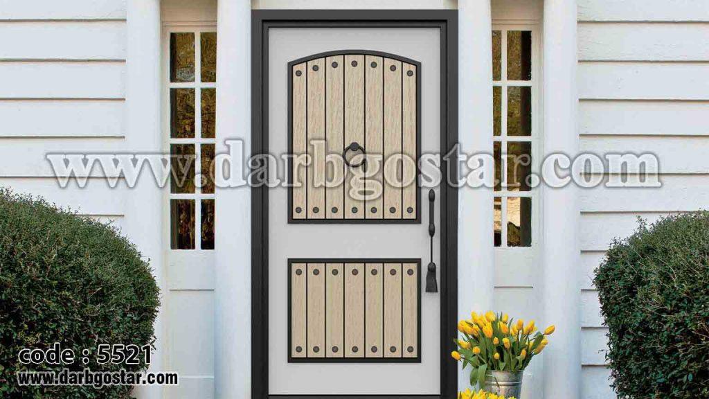 درب فلزی ساختمان طرح چوب کد درب 5521