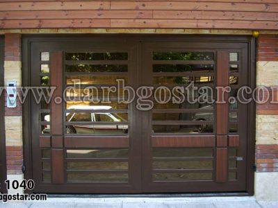 درب فلزی طرح چوب درب پارکینگ کد درب 1040