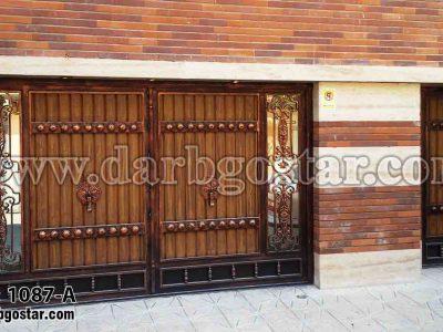 1087-A درب فلزی طرح چوب