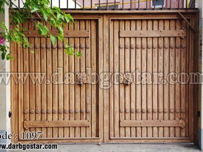 درب فلزی طرح چوب کد درب 1097